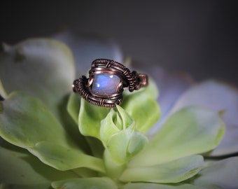 Blue Flash Rainbow Moonstone Oxidized Copper Wire Wrapped Gemstone Ring US Size 9
