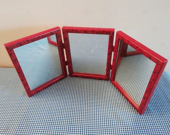 50's tryptich red mirror, barber mirror, very nice condition ; size : 3 x (6.10 x 7.68)