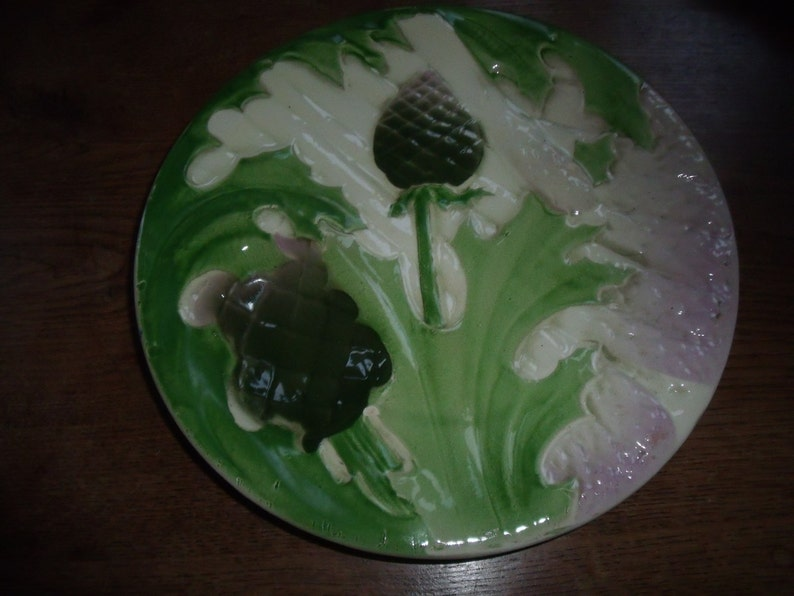 circa 1920 french  majolica  ST CLEMENT  asparagus and artichoke plate perfect