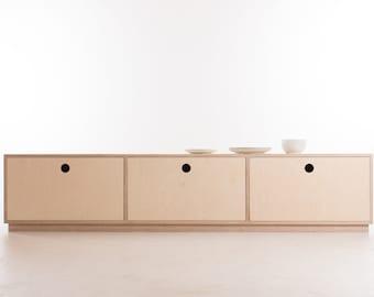 Yokohama Drawer Sideboard // Media Console / Credenza / Storage - Ash Feet / Plinth / Wheels - Birch Plywood - Customise Design + Materials