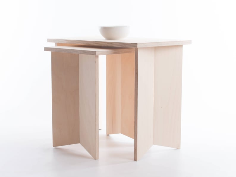 Pair of Nesting Origami Side Tables  Baltic Birch Plywood  image 0