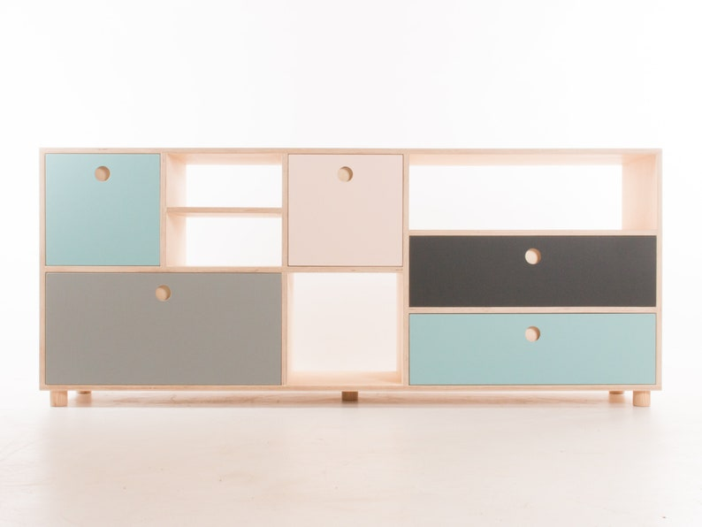 info for 6b605 0fa81 Low Shelving Unit/ Storage / Bookshelf with Drawers // Birch Plywood and  Forbo Lino Drawers // Customise Design + Materials