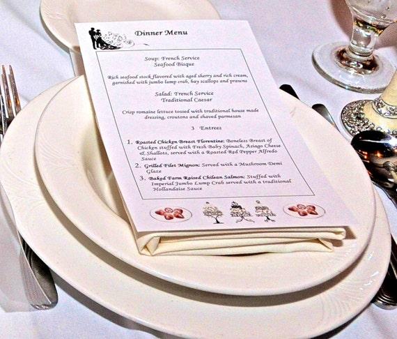 50 Wedding Menu Cards Venue Menu Dinner Menu For Wedding Etsy