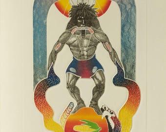James Rome, Hopi Snake Ceremony, Etching Aquatint