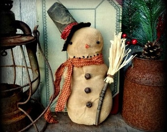 primitive handcrafted folk art snowman shelf sitter cupboard tuck winter christmas christmas decoration farmhouse decor made to order - Primitive Christmas Decor
