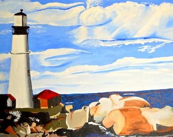 "Original Acrylic Landscape / Seascape/ Lighthouse/Maine Painting on Canvas   Titled Portland Head Lighthouse 12 ""X 16"""