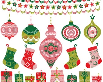 christmas tree decor clipart 21 decorations instant download christmas set balls socks gifts borders printable red pink green