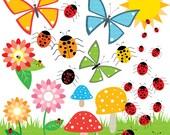Ladybugs, Flowers, Mushrooms, Butterflies CLIPART. Summer bugs. Printable colorful summer Clip Art, MissAngelClipart