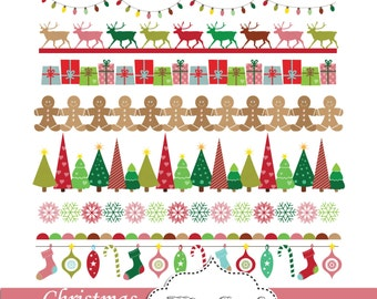 digital christmas borders clip art red green blue small commercial use reindeers trees snowflakes christmas bunting banners - Christmas Borders