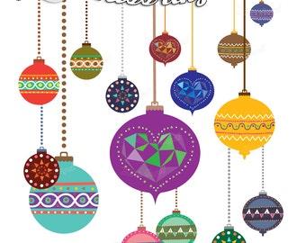 Christmas Balls Clipart Christmas Tree Decor Geometric Xmas Etsy