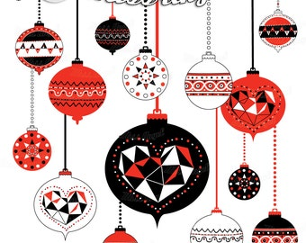 christmas ornaments clipart christmas balls geometric decor tree ornaments digital christmas decorations red black white printable decor
