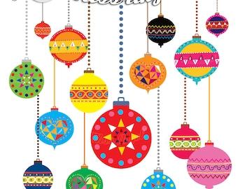 Christmas Ornaments Clipart Christmas Balls Geometric Decor Etsy