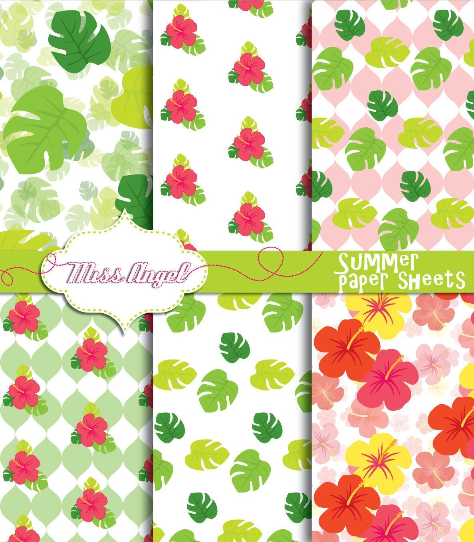 hibiscus digital paper sheets. summer hawaii digital papers. | etsy