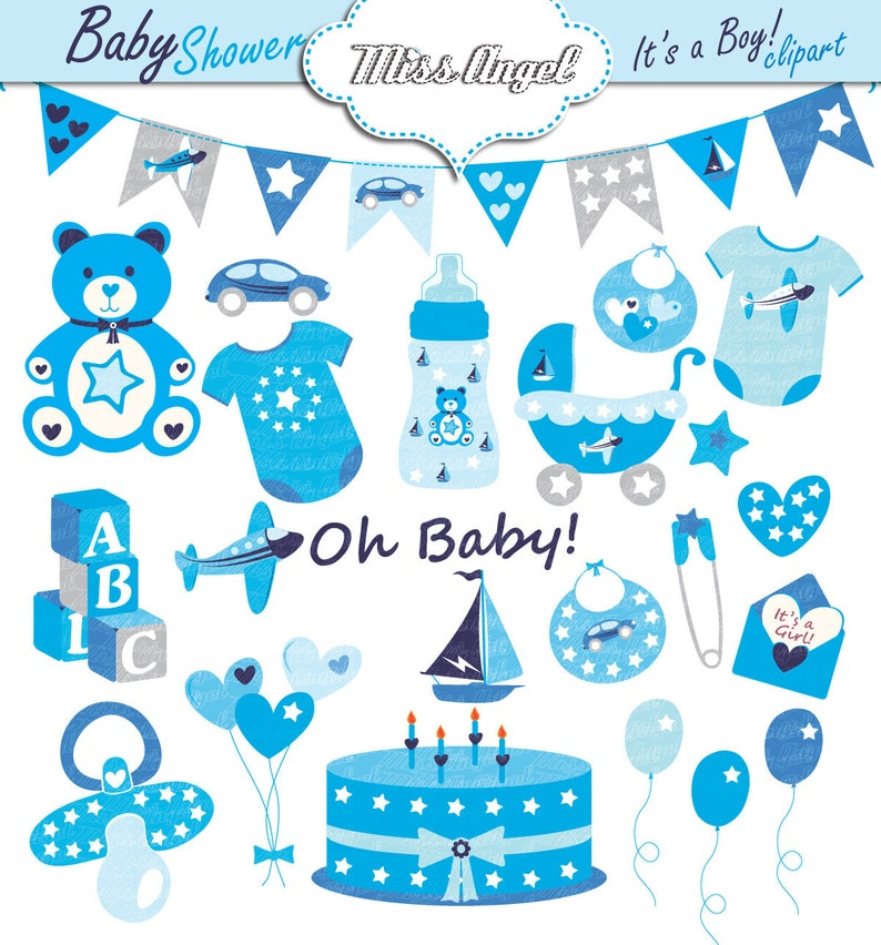 Baby Boy Shower Clip Art Baby Boys Shower Party Decor Blue Baby Party Clip Art Push Chair Dummy Balloons Teddy Bear Bunting Banner