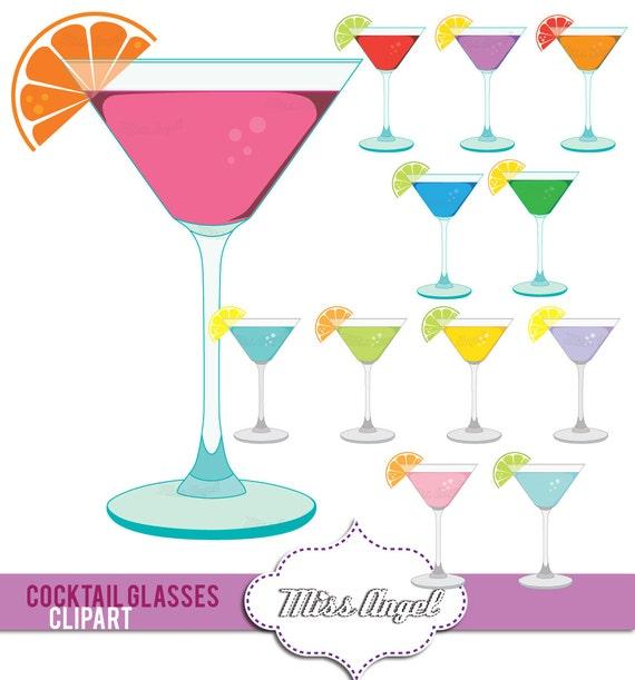martini glasses clipart colorful digital cocktail glasses drinks rh etsystudio com martini glass clipart png martini glass clipart png