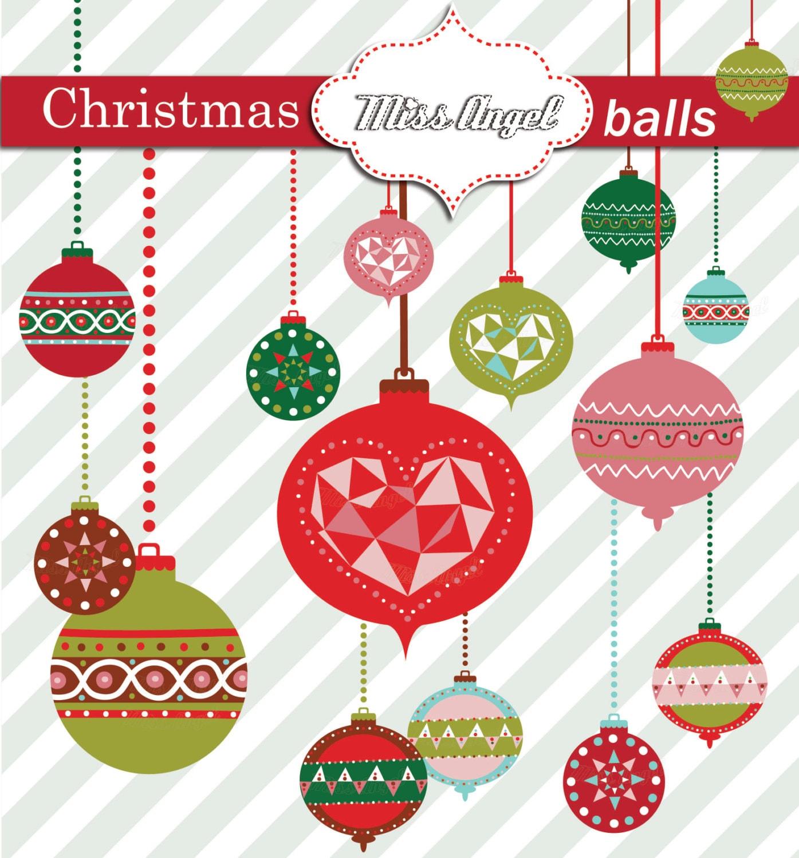 Christmas Balls CLIPART. Christmas Tree Decor Geometric