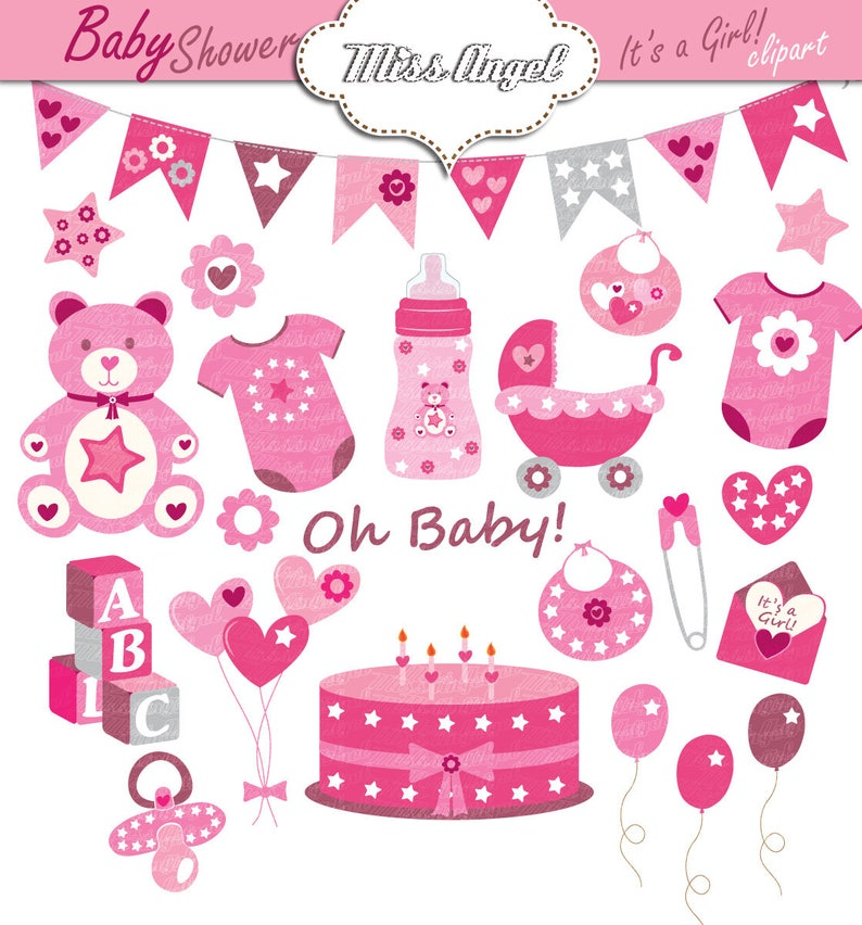 Baby Shower Clipart Baby Girls Shower Party Decor Pink Baby Etsy