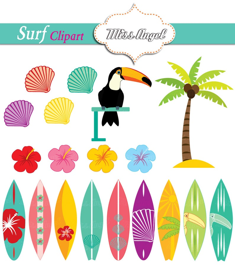 Surfboards Clipart Summer Surfboards Palmtree Toucan Etsy
