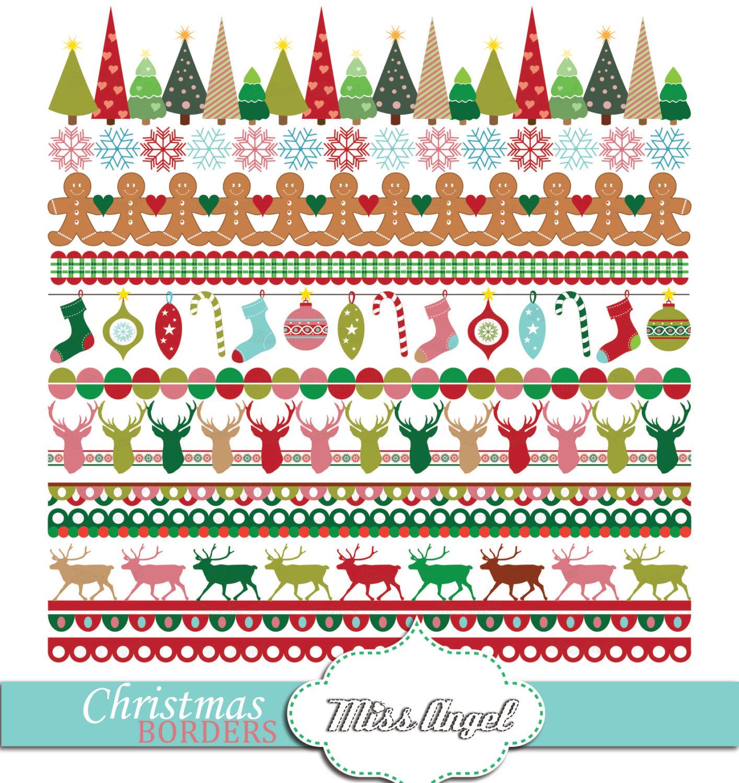 Weihnachten-Grenzen Girlande Banner ClipArt. | Etsy