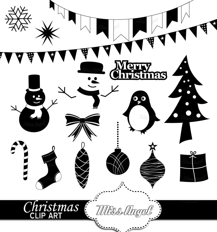 Weihnachten Clipart Silhouetten 16 digitale Xmas Ausdrucke. | Etsy