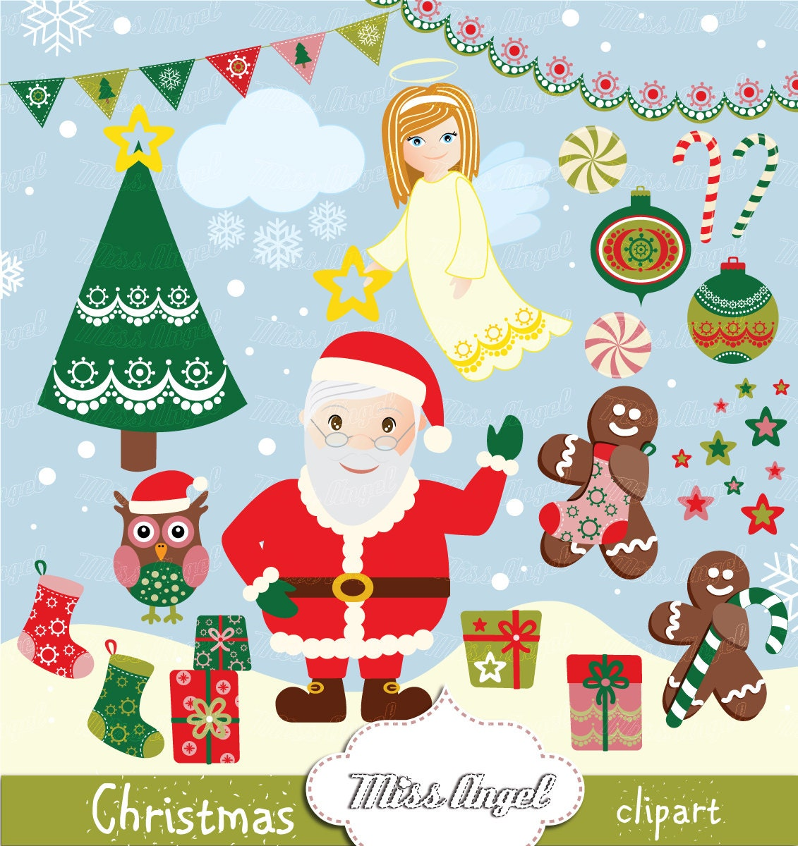 Weihnachten CLIPART Santa Claus 22 digitale Zeichnungen. | Etsy