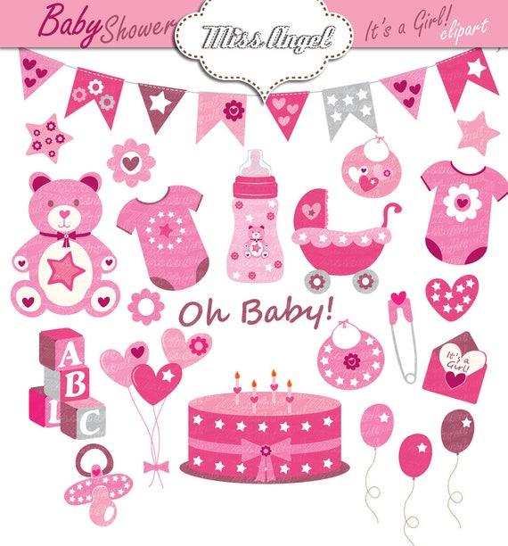 Baby Dusche Clipart Babymädchen Dusche Parteidekor Rosa Etsy