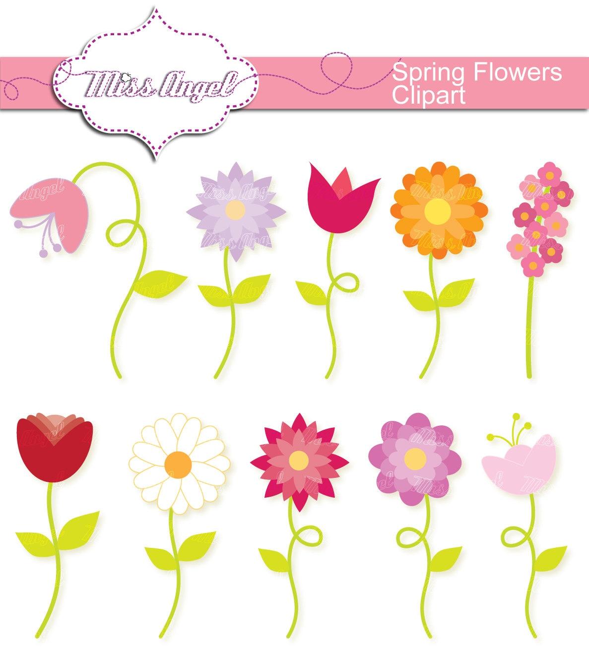 Spring Flowers Clipart Set 10 Digital Flowers 6 Clip Etsy