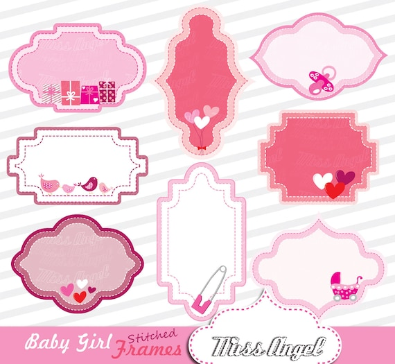 Baby girls frames. Stitched labels clipart 8 digital frames. | Etsy