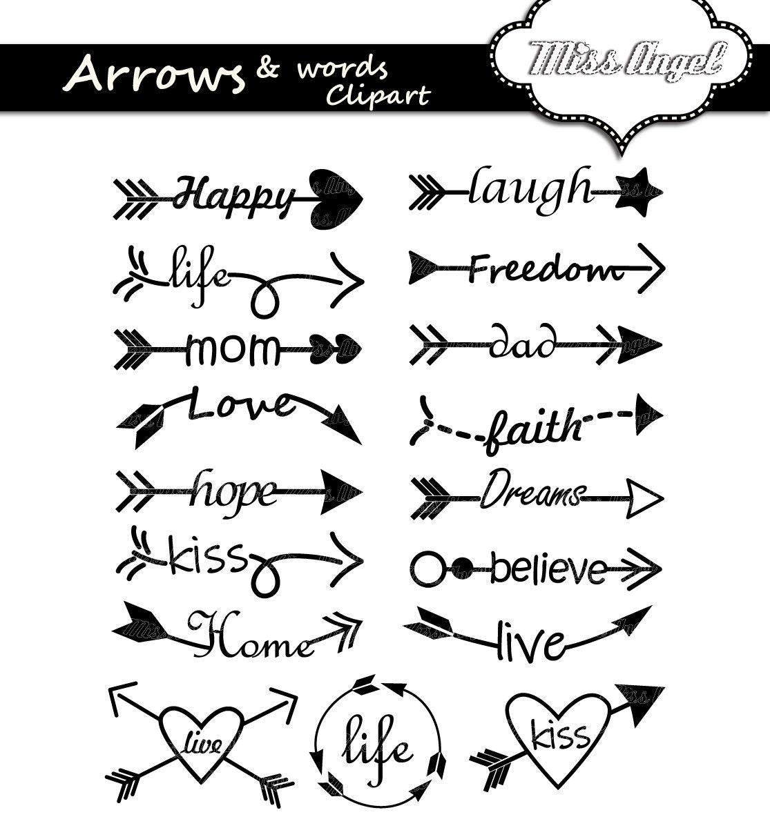 Arrows words clipart. Arrow words clip art. 17 digital ...