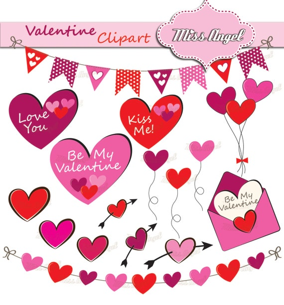 Valentine Clipart Hearts 16 Love Elements Valentine S Etsy