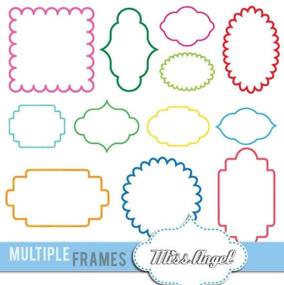 Multiple Frames clipart 12 digital labels. Digital 6 | Etsy