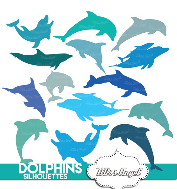 14 various dolphins silhouettes clip art digital dolphin etsy