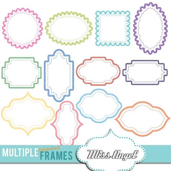 Multiple stitched frames clipart 12 digital labels. Digital | Etsy