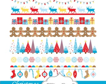 Christmas bunting banners. Christmas Borders, Digital Christmas ribbons Clip art. Small commercial Use. Reindeers, Trees, Snowflakes