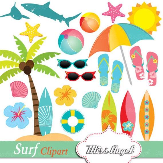 Hawaiian art Hawaii Clipart Palm tree Surf Clip art Blue Hibiscus Surfboards Orange Hukelele Summer drawings Shells Sharks Green