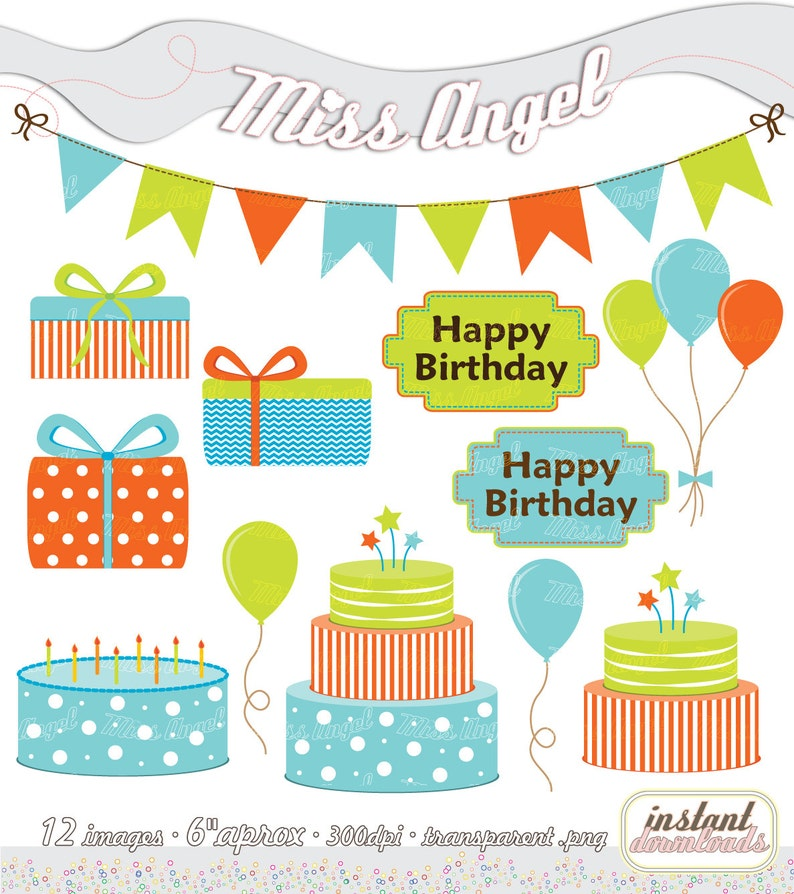 Buy 2 Get 1 Free Buy 4 Get 2 Free Happy Birthday Clip Art Digital Party Illustrations Bunting Banner Cakes Gift Boxes Balloons Blue