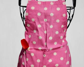 Bubble Gum Pink and Cream Polka Dot Adjustable Little Chef apron
