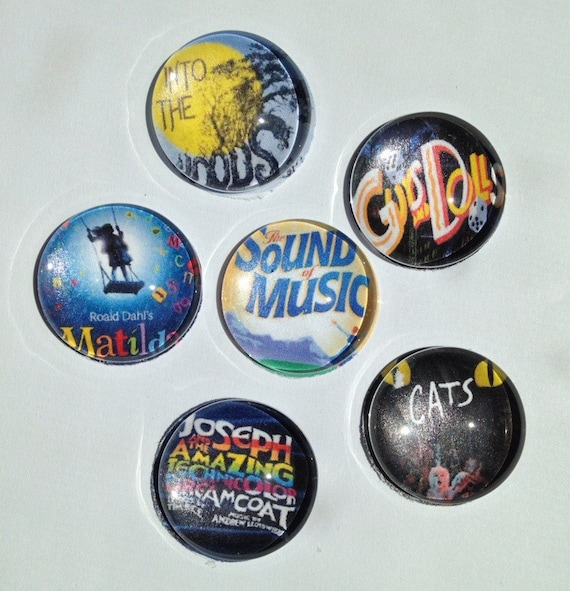 Broadway Show Glass Magnets Featuring Cats Sound Of Music Etsy