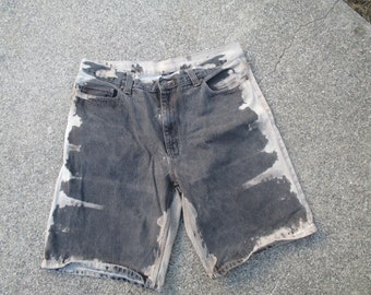 81f31c2849 Men's Faded Glory bleached black brown Jeans shorts Up-cycled size 36