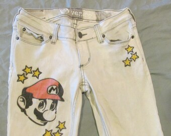 Mario Stars Bullhead Venice Skinny short hand bleach/drawn Jeans size 1 Ladies Up-cycled