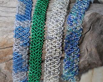Fine Woven beaded Bracelet 's green blue silver  Choose 1