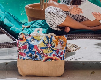 Cotton canvas shoulder bag / Abstract floral print / pool tote / custom welcome bags / gift totes for tropical wedding