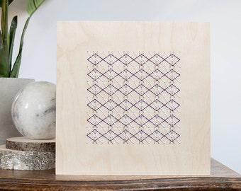 """Silver, white and purple geometric stitch pattern on 8"""" x 8"""" natural Birch wood panel. Embroidery modern design. Home decor Wood embroidery"""