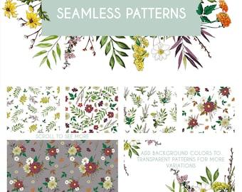 Fall Digital Scrapbook Paper - Floral Watercolor Pattern Clipart Set of 8