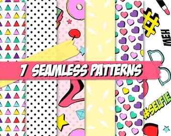Emoji Clipart Digital Scrapbook Paper Pack - Set of 7