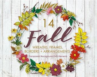 Fall Watercolor Clipart, Wreath Clipart, Fall Frame, Fall Floral Arrangements, Invitation Clipart