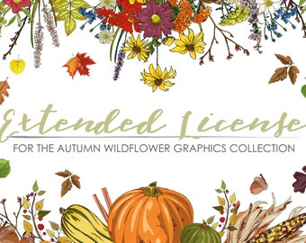 EXTENDED LICENSE for Autumn Wildflower Graphics Set