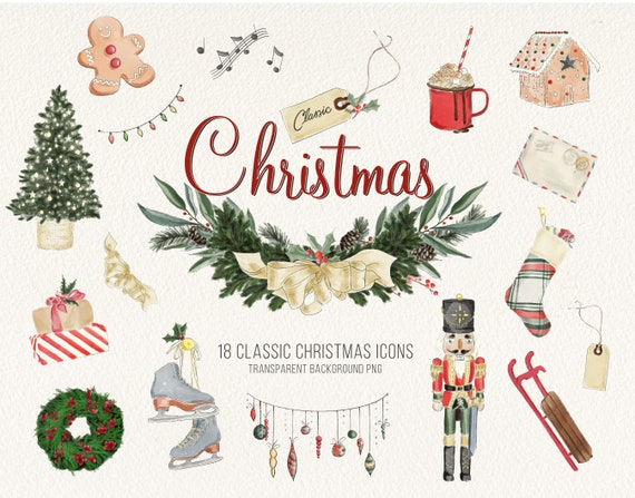 Classic Christmas Watercolor Icons Vintage Holiday Clipart Etsy