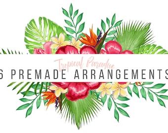 Tropical Floral Watercolor Wreath, Frames and Arrangement Clipart - Set of 6