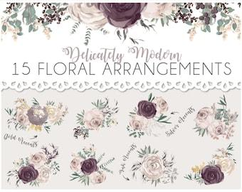 Watercolor Wedding Floral Arrangements - PACK of 15